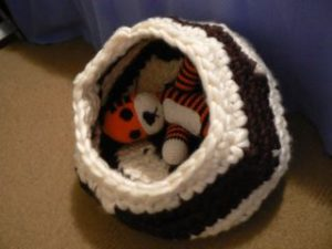 Cats take a while to get used to new cat caves, but Hobbes kindly agreed to model it for me :)